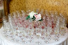 Many glasses of champagne and wine Stock Photography
