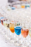Many glasses of different alcohol Stock Images