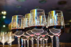 Many glasses of red wine. The Glasses with the wine Royalty Free Stock Image