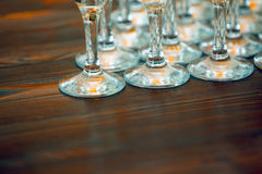 Many glasses on the table Stock Image