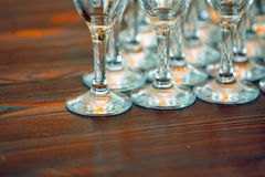 Many glasses on the table Royalty Free Stock Image