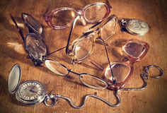 Many Glasses and watch Royalty Free Stock Photo