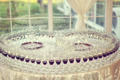 Many glasses on wedding day Royalty Free Stock Photos