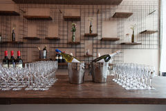 Many glasses with white wine on buffet table. Soft focus, selective focus Stock Photography