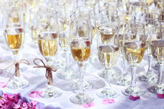 Many glasses of wine on table or champagne wedding event Royalty Free Stock Photos