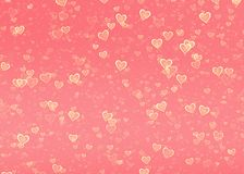 Many glow hearts on pink pastel backgrounds. Love symbol Stock Photos