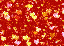 Many glowing hearts on red backgrounds of Love symbol Stock Photography