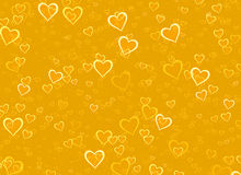 Many glowing hearts on yellow backgrounds Royalty Free Stock Image