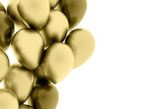 Many gold balloons fly on white Royalty Free Stock Photography