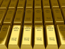 Many Gold bars background. Royalty Free Stock Photos