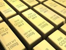 Many gold bars Stock Photos