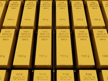 Many Gold bars or Ingot Stock Photo