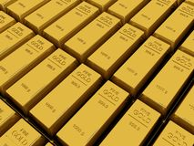 Many Gold bars or Ingot. Macro view of stacks  gold bars Royalty Free Stock Photo