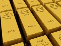 Many Gold bars or Ingot Royalty Free Stock Images