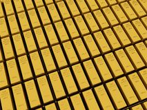 Many Gold bars or Ingot Stock Photos