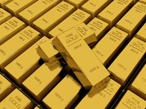 Many Gold bars or Ingot Stock Photography