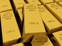Many Gold bars or Ingot Royalty Free Stock Photos