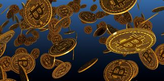 Many gold bitcoins laying on reflective surface, 3d Rendering Stock Photo