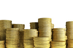 Many Gold coin stacks Royalty Free Stock Image