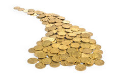 Many of gold coins making curved path. On a white background Royalty Free Stock Photos