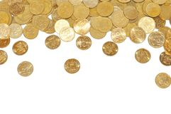 Many gold coins over white Stock Photo