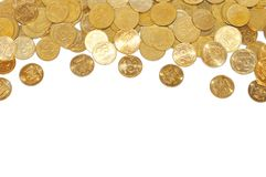 Many gold coins over white Stock Images