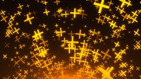 Many gold crosses are in space, 3d rendering background, golden explosion of particles, computer generated stock illustration