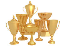 Many gold Cup for the winner Royalty Free Stock Photos