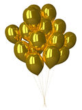 Many gold glossy balloons Royalty Free Stock Photos