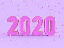 Many gold pink white sphere violet/purple scene 2020 abstract type/text number 3d render. Ing royalty free illustration