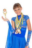Many gold, silver, and bronze medals Royalty Free Stock Photo