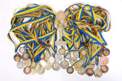 Many gold, silver, and bronze medals Royalty Free Stock Images