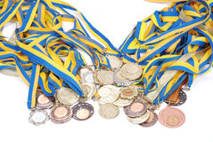 Many gold, silver, and bronze medals Stock Image
