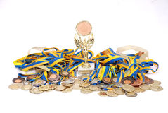 Many gold, silver, and bronze medals Stock Photos