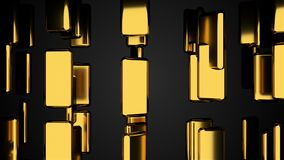 Many golden bars on black, outlook, computer generated abstract background, 3D render. Ing Stock Photos