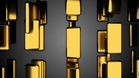 Many golden bars on black, outlook, computer generated abstract background, 3D render. Ing vector illustration