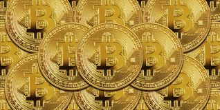 Many golden bitcoins as a background Royalty Free Stock Photos