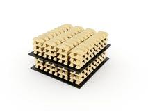 Many golden bricks isolated on white Stock Images
