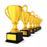 Many golden cups Royalty Free Stock Photo