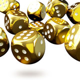 Many golden dices  on white Royalty Free Stock Photos