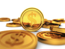 Many golden dollar currency coins on white background Royalty Free Stock Photography