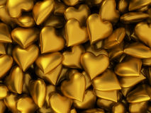 Many golden hearts Stock Images