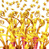 Many Golden Party Poppers For Background Royalty Free Stock Photos