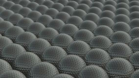 Many golf balls are moving endlessly. Golf balls rolling. Sport background. Seamless video royalty free illustration