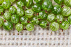 Many gooseberry fruits on gray linen Royalty Free Stock Photography