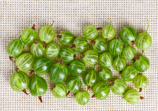 Many gooseberry fruits on gray linen Stock Photo