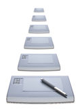 Many graphic tablets stock image