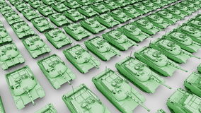 Many green American army tanks, aerial view cartoon animation. Seamless loopable 4K clip stock footage