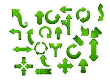 Different Green arrow icon set Royalty Free Stock Photo
