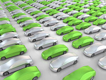 Many green cars in parking position. 3D rendering: many green cars in parking position Royalty Free Stock Images